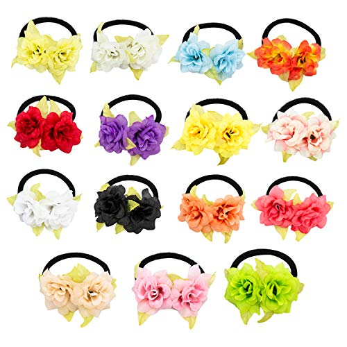 HOPEANT 15 PCS Wrist Corsage Party Prom Hand Flower Decor Head Flower for Girl Bridesmaid Wedding BXP33-15