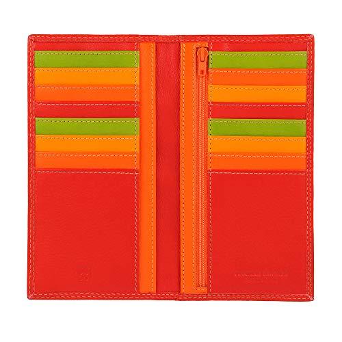 DUDU Portafoglio Donna Anti RFID in Pelle Colorato Grande con 16 Tasche Porta Carte di credito Tessere Rosso