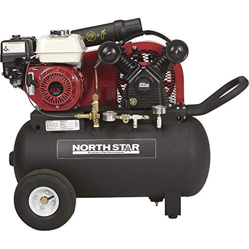 NorthStar Portable Gas-Powered Air Compressor - Honda 163cc OHV Engine, 20-Gallon Horizontal Tank, 13.7 CFM at 90 PSI