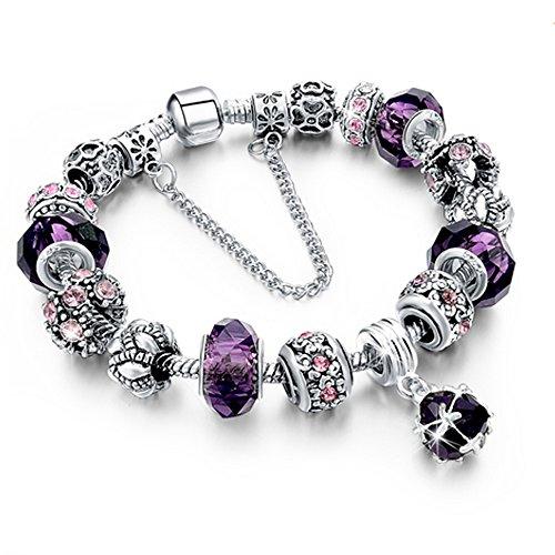 Beloved Braccialetto da donna con cristalli - bracciale compatibile pandora - beads e charms - bead placcate argento, in vetro e cristalli - con catena decorativa - charm pendente (Viola)
