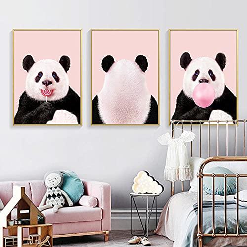 Bebé Animal Kawaii Panda Lienzo Poster Nursery Wall Art Print Bubble Lollipop Pintura Imagen nórdica Kid Decoración de dormitorio 40x60cmx3 Sin marco