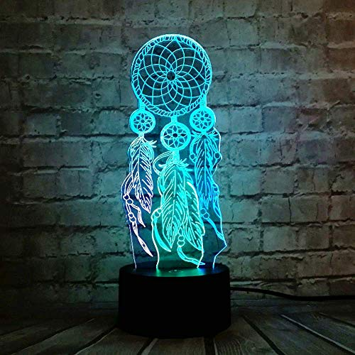 Valentine Wind Chimes Illusion RGB Switch 3D Optical Touch Change LED Night Light for Kid Bedroom Party Decor Lava Mood Table Lamp Holiday Girls Xmas Birthday Gift for Kid Gift