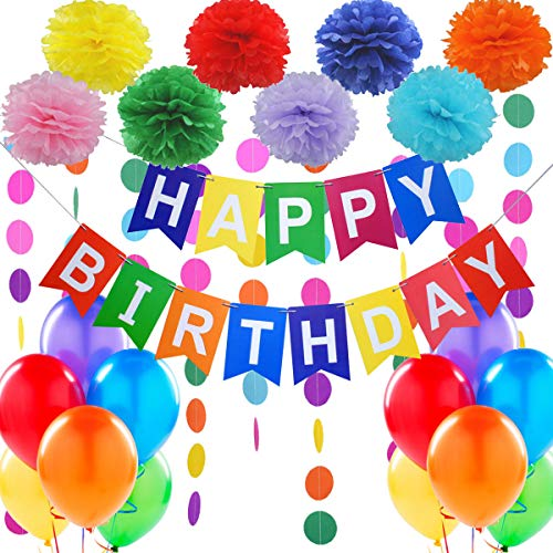 """Jonami Decorazione Festa di Compleanno. Bandierine di Buon Compleanno """"Happy Birthday"""" + Set di 8 Pompon a Fiore + 2 Festoni Arcobaleno di 3 m + 12 Palloncini Perlati"""