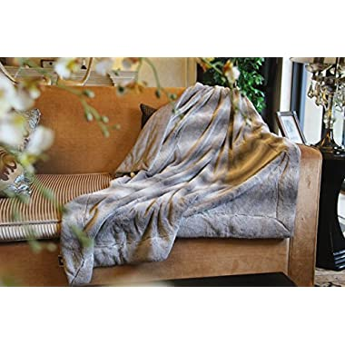 Tache Faux Fur Throw Blanket - Striped Gray Soft Rabbit Pile Backed by Micro Fleece - 50 X 60 Inch