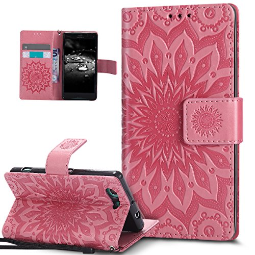 Kompatibel mit Sony Xperia Z3 Compact Hülle,Prägung Mandala Blumen Sonnenblume Muster PU Lederhülle Flip Hülle Cover Schale Ständer Etui Wallet Tasche Hülle Schutzhülle für Sony Xperia Z3 Compact,Rosa