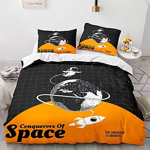 Funda Nordica Cama 135 Astronauta del Espacio Negro Ropa De Cama 220x240 cm, Microfibra Suave, Funda de edredón con Cremallera, con 2 Fundas De Almohada 50x75 cm