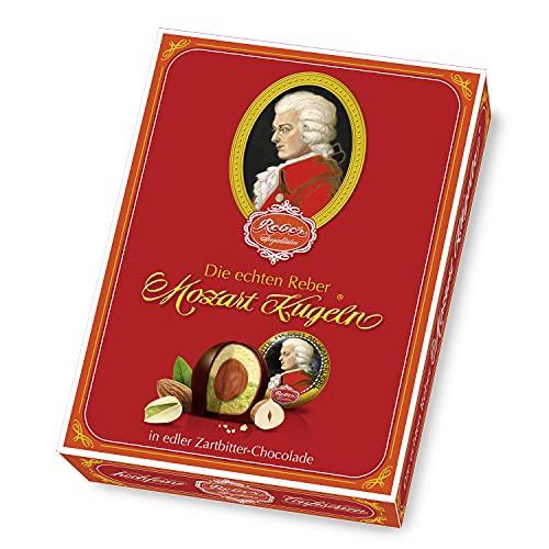 Reber Echte Reber Mozart-Kugeln, Pralinen aus Zartbitter-Schokolade, Marzipan, Nougat, Besonderes Design, 12er-Packung