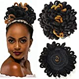 DreadLock Bun Afro High Puff Drawstring Ponytail Synthetic Faux Locs Hair Bun Pony Tail Hairpieces Clip In Hair Extentions for Black Women (1B/27#)