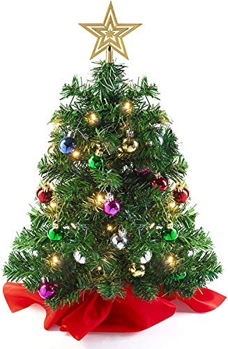 Tabletop Christmas Tree (Wooden Base/Cloth) with LED Lights (UK), Star Treetop and Ornaments