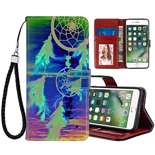 UZEUZA Funda tipo cartera para iPhone 7/8/SE2 Water Dream Net Wind Chimes Cartoon Phone Case con soporte de soporte, ranuras para tarjetas, cubierta con tapa para iPhone 7/8/SE2