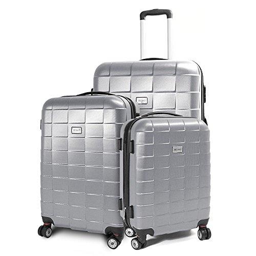 BERWIN® Kofferset 3-teilig Reisekoffer Koffer Trolley Hartschalenkoffer ABS Teleskopgriff Modell Squares (Silber)