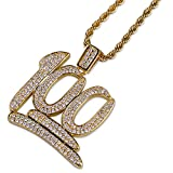 JINAO Hip Hop 18K Gold Plated Iced Out CZ 100 Pendant Necklace with 24' Stainless Steel Chain for Men