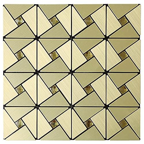 ZXF Pegatinas de baldosas, Autoadhesivo Metal Backsplash Pegatina de azulejo Peel de Aluminio y Palillos Pegatinas de Pared Cocina Cuarto de baño Mosaico Decoración (Color : Gold, Size : 5 Sheets)