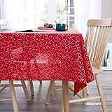 Deconovo Mantel Mesa Rectangular Decorativo 130 x 130 cm Rojo