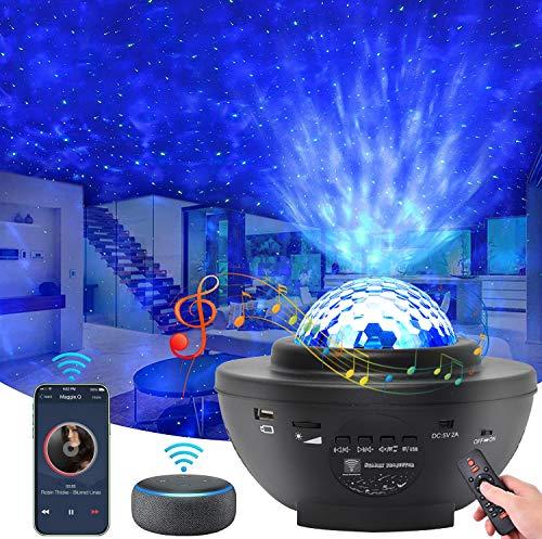 HMEDA 3 en 1 Lámpara Proyector de Luz Estelar,LED Proyector de Luz Nocturna Giratorio Estrellas Océano con Altavoz Bluetooth Temporizador, Proyector Color Reproductor con Remoto, Niños Regalo
