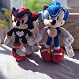 HNZYAMZDS 2Pcs/Lot 28cm Sonic Plush Toys Doll Black Blue Shadow Sonic Soft Peluche Toy Children for Friends Kids
