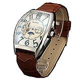 Sewor uomo Tourbillon Moon Phase meccanico automatico orologio da polso con fascia in vetro rivestimento blu (Bianco)