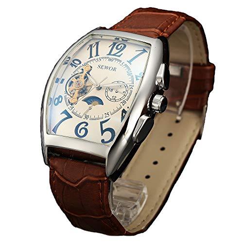 SEWOR Luxury Tourbillon Herren Mondphase automatische mechanische Armbanduhr Lederband Glasbeschichtung blau (Silver White)