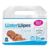 WaterWipes Unscented Baby Wipes, Sensitive and Newborn Skin, 3 Packs (180 Wipes)