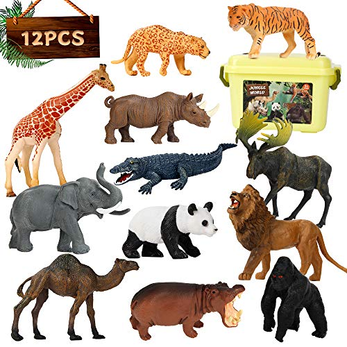 Elf Lab Safari Animal Figures, 12PCS Jungle Zoo Animals Toys, Realistic Wildlife Plastic African Animals Playset, Learning Educational Toy, Christmas Birthday Gift for Kids Children Toddlers 3-5