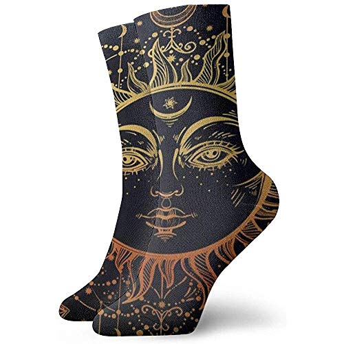 Sun Face Moon Star Socks Femmes Hommes Crew Chaussettes Hiver Garder Au Chaud La Mode Belles Chaussettes