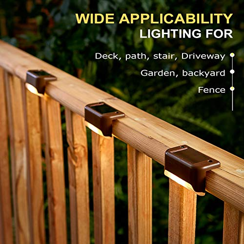 Solar Deck Lights Outdoor, 16 Pack Solar Step Lights LED Waterproof Solar Fence Lights for Railing, Deck, Patio, Yard, Post and Driveway, Warm White