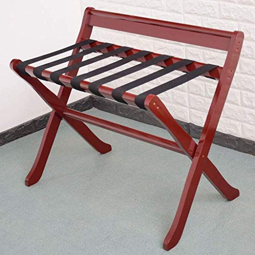 LDM Luggage Rack Hotel Luggage Rack Foldable Solid Wood Luggage Rack Luggage Rack, Shoe Rack for Clothes (Color: Wine Red)