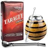 Juego de té mate: Yerba Mate Taragui Energia 0,5 kg | Vaso mate de calabaza (tigre), hecho a mano – Kalebasse | Pajita mate de acero inoxidable – Bombilla | Cepillo de limpieza