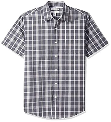 Amazon Essentials Men's Regular-Fit Short-Sleeve Plaid Casual Poplin Shirt, Charcoal, Large