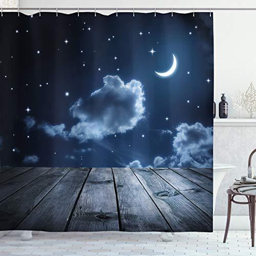 ABAKUHAUS Dunkelblau Duschvorhang, Vivid Night Sky Holz, Seife Bakterie Schimmel & Wasser Resistent inkl. 12 Haken & Farbfest, 175 x 200 cm, Dunkelblau Weiß