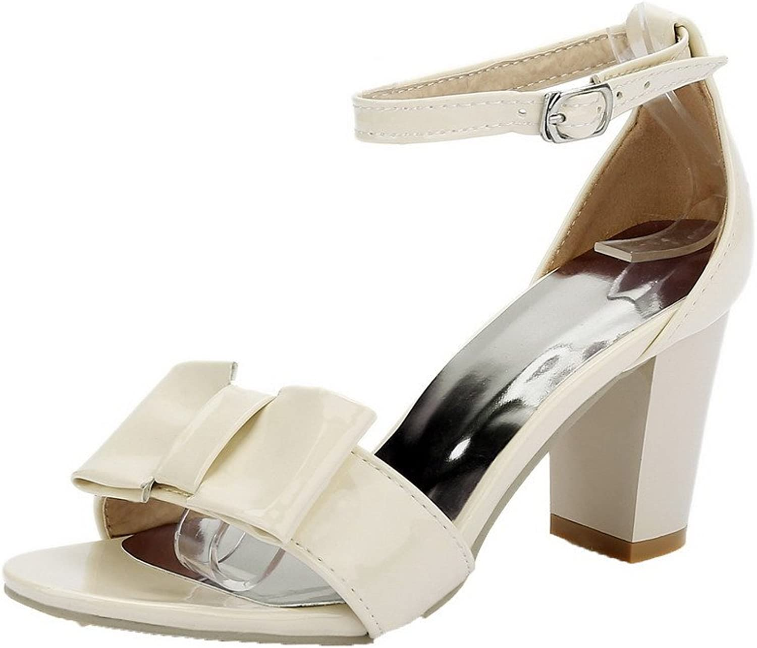 WeenFashion Women's Buckle High-Heels Patent Leather Solid Open-Toe Sandals