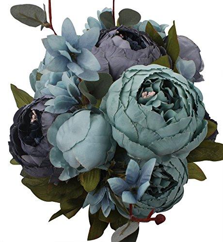 Xiuer klassische, künstliche Blumen, Pfingstrosen, Blumenstrauß für glorreiche Hochzeiten, Brautschmuck, Dekoration für Zuhause blau