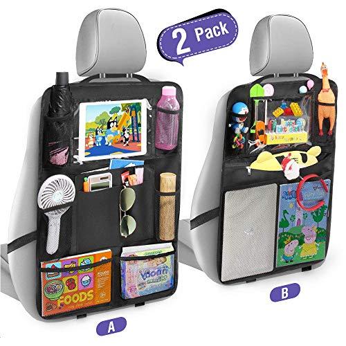Tsumbay Auto Rugleuningbescherming (2 stuks) Schop Bescherming met Achterbank-organizer, Achterbank Reiniger, Organizer met Veel Tassen voor een Autostoel, Doorzichtige iPad-Tabletholster