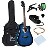 Best Choice Products Beginner Acoustic Electric Guitar Starter Set 41in w/All Wood Cutaway Design, Case, Strap, Picks, Tuner - Blue
