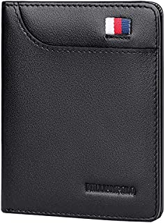 WILLIAMPOLO Men Short Wallet Bifold Genuine Leather Purse Slim Money Clips Credit Card Holder with ID Window