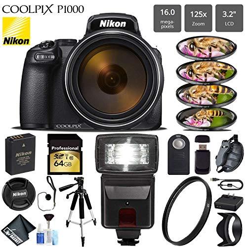 Nikon COOLPIX P1000 Digital Camera 16MP 125x Optical Zoom & Build in Wi-Fi + Slave Flash + Macro Filter Kit + UV Protection Filter + Tripod - International Version