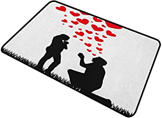 """shirlyhome Christmas Doormat Engagement Party Machine-Washable/Non-Slip Wedding Proposal of Romantic Couple with Hearts Image Happiness 30""""x40"""" Black White and Red"""