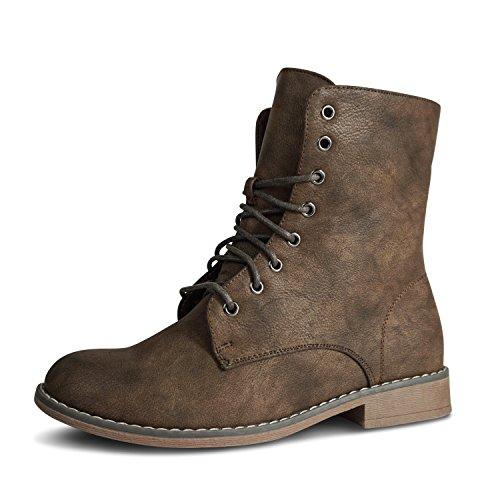 Stiefeletten Stiefel Damen Boots Schnürstiefel Schuhe Biker Schnürstiefeletten gefüttert (41, Dunkelbraun gefüttert)