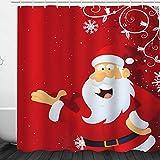Weihnachtsdeko-Duschvorhang, Frohe Weihnachten, Schneemann & Weihnachtsmann, Duschvorhang, wasserdicht und schimmelresistent, Polyester Stoff für das Badezimmer, 185#, 180 * 200cm