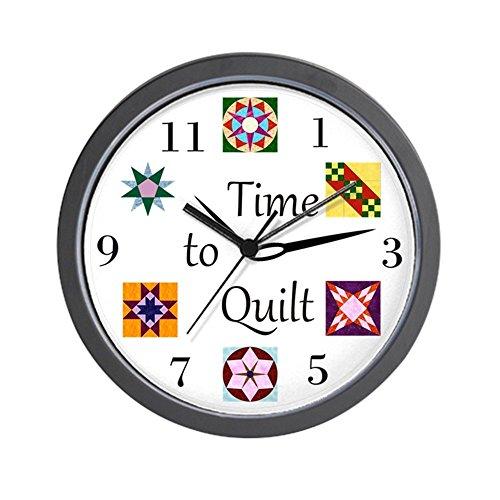 "CafePress Time to Quilt Clock Unique Decorative 10"" Wall Clock"