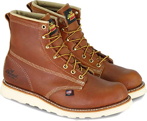 "Thorogood 814-4355 Men's American Heritage 6"" Round Toe, MAXWear Wedge Non-Safety Toe Boot, Tobacco Oil-Tanned - 7.5 D(M) US"