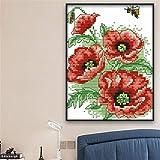Abcidubxc - Set de pegatinas con diseño de abeja con flores e ilusión de flores, costura hecha a mano, kit de iniciación, pegatinas, decoración del hogar, 15 x 19 cm