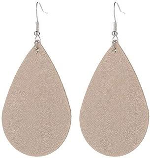 WLLAY Teardrop Leather Earrings Soft Lightweight Genuine Leather Teardrop Dangle Earrings Multi-Color Leaf Drop Earrings