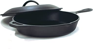 Lodge Seasoned Cast Iron Skillet with Cast Iron Lid (12 Inch) - Cast Iron Frying Pan With Lid Set.