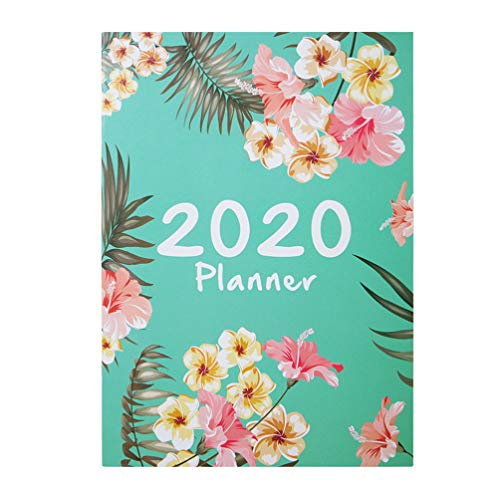STOBOK 2020 Planner Notebook A4 Diary Tropical Leaf Flower Monthly Daily Efficiency Agenda Planner Schedule Study Stationery (Green)