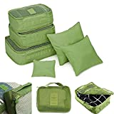 New Packing Cubes for Travel Cube Organizer Camping Accessories Travel Bag Suitcase Sets Carry On Bag Luggage Set Travel Accessories 6Pcs Travel Clothes Storage Bags Luggage Organizer (Green)
