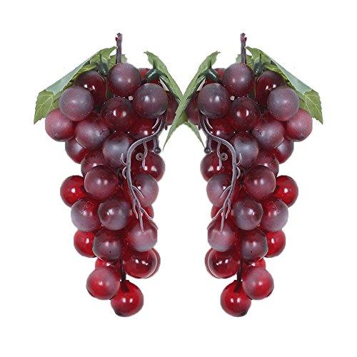 WADY 2 uvas decorativas de plástico para vino, uvas, frutos artificiales, frutas y verduras, 2 unidades de 17 cm (rojo)