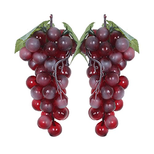 WADY 2pc Deko Kunststoff Weintrauben Wein Trauben Kunstobst Plastikobst künstliches Obst Gemüse Dekoration 2 mal 17cm (Lila)