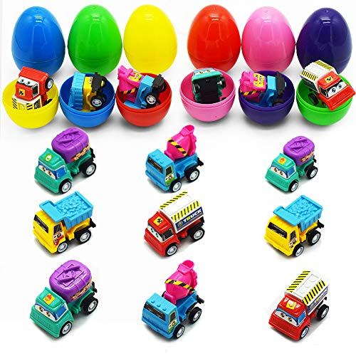 Nyicey 9 Pack Fillable Plastic Easter Egg with Mini Pull Back Trucks Vehicles for Easter Theme Party, Favor Easter Eggs Hunt, Basket Stuffers Fillers, Classroom Prize