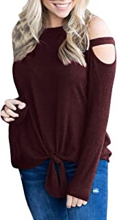 Benficial Women Casual Strapless O-Neck Solid Long Sleeve Knot T-Shirt Top Blouses